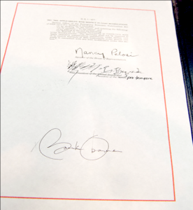 President Obama's signature on the American Recovery and Reinvestment Act